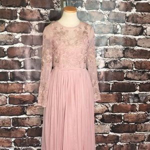 ASOS Bridesmaid Dress Tulle Embroidery Rose Pink 6